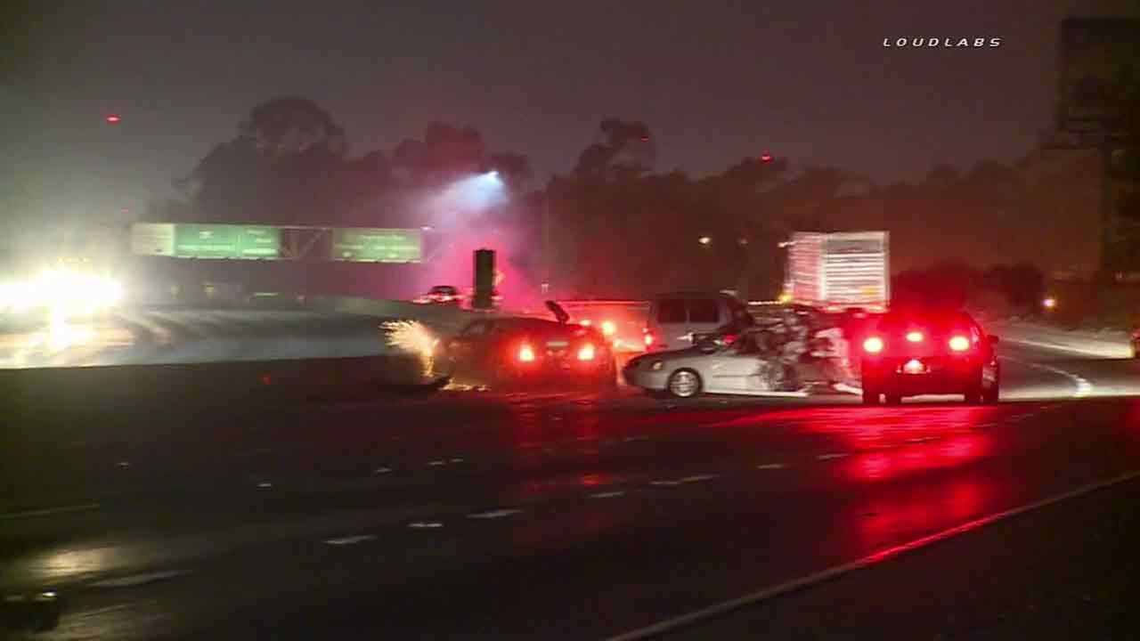 Multiple cars collide on the southbound 605 Freeway in Whittier, Calif. early Sunday, Feb. 28, 2016.