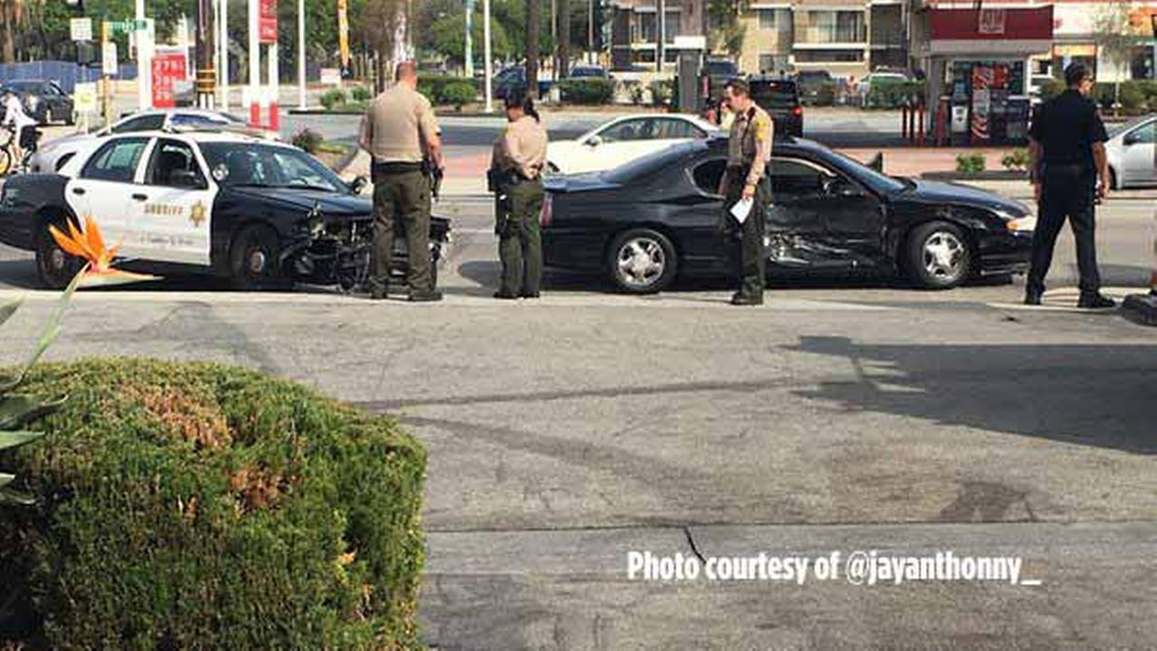 A patrol car with the Los Angeles County Sheriffs Department was involved in a crash at the intersection of Covina Boulevard and Citrus Avenue in Covina on Sunday, Feb. 28, 2016.