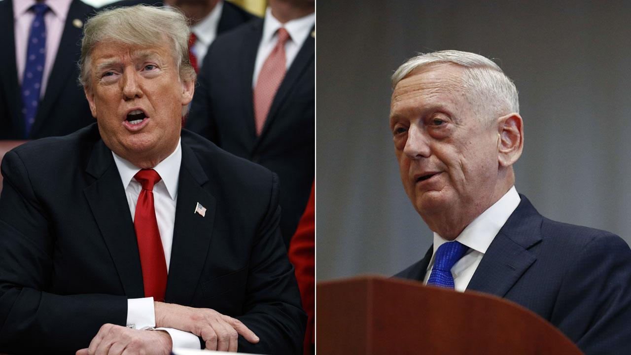 President Donald Trump and Defense Secretary James Mattis are shown in file photos.