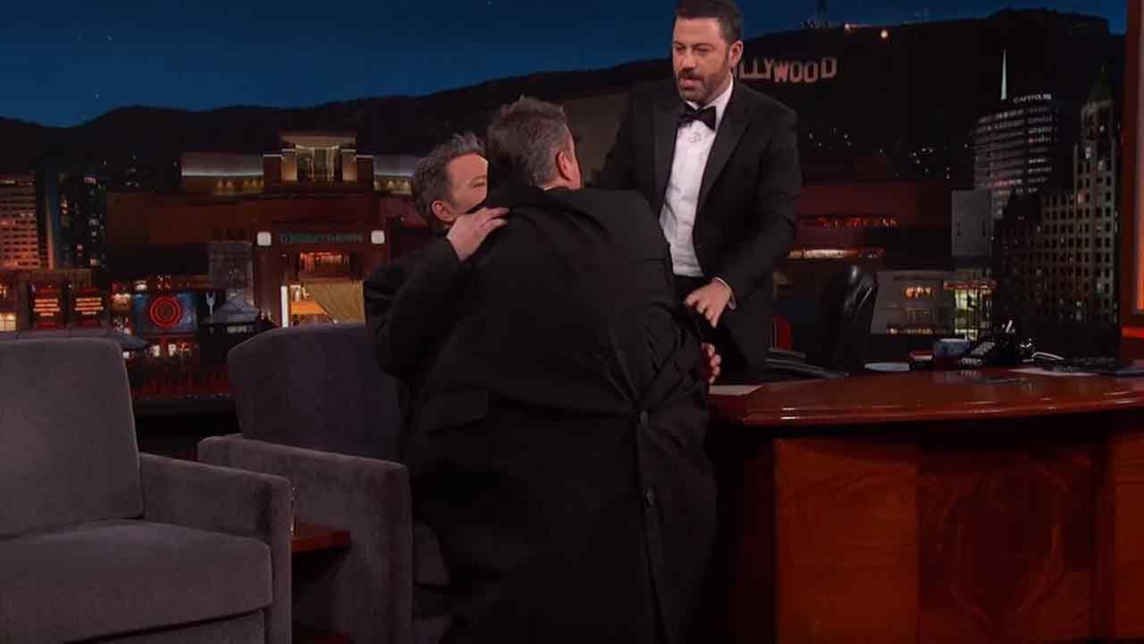 Ben Affleck sneaks Matt Damon onto Jimmy Kimmel Live on the post-Oscars show in Los Angeles on Sunday, Feb. 28, 2016.