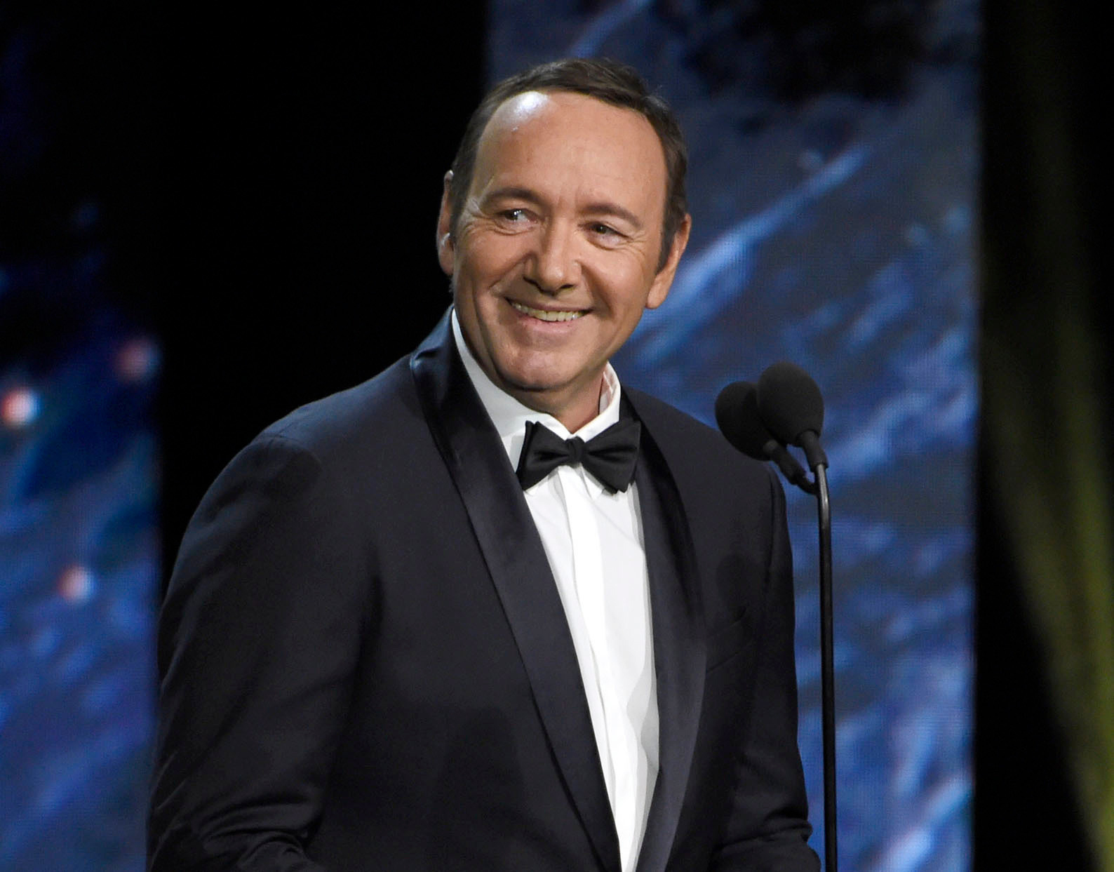 FILE - In this Oct. 27, 2017, file photo, Kevin Spacey presents the award for excellence in television at the BAFTA Los Angeles Britannia Awards.