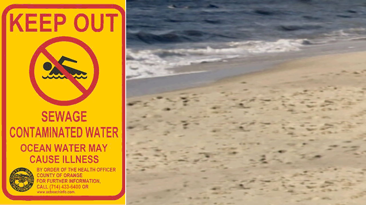 A beach is closed due to contamination.