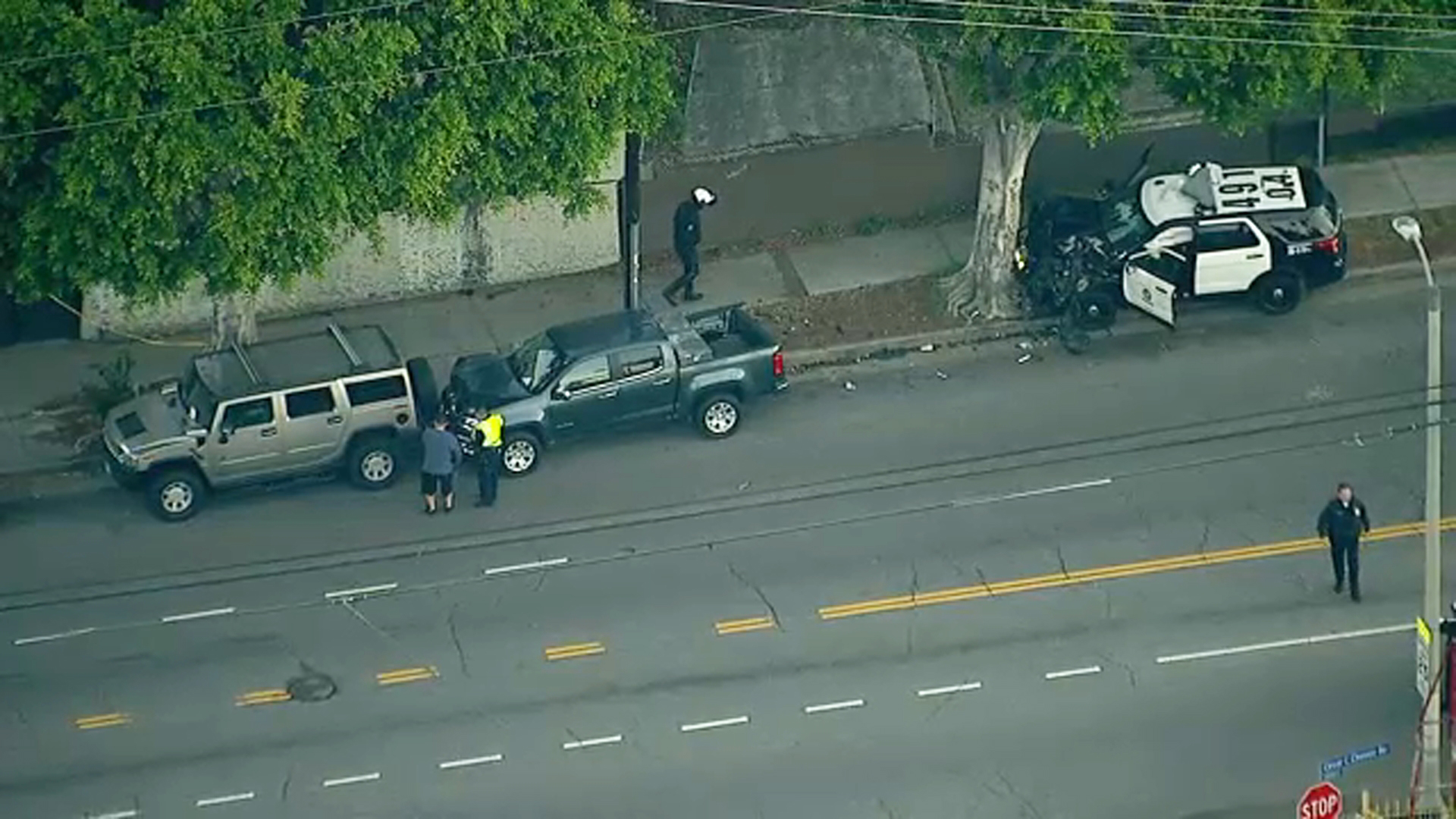 Authorities are at the scene of a crash in Boyle Heights that left two Los Angeles Police Department officers injured on Thursday, Dec. 27, 2018.