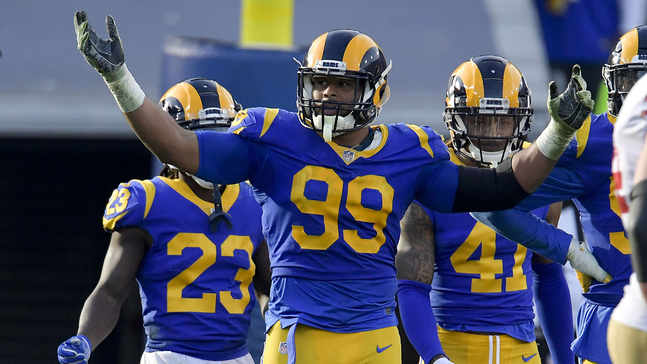 Los Angeles Rams defensive end Aaron Donald celebrates during a game against the San Francisco 49ers Sunday, Dec. 30, 2018, in Los Angeles.