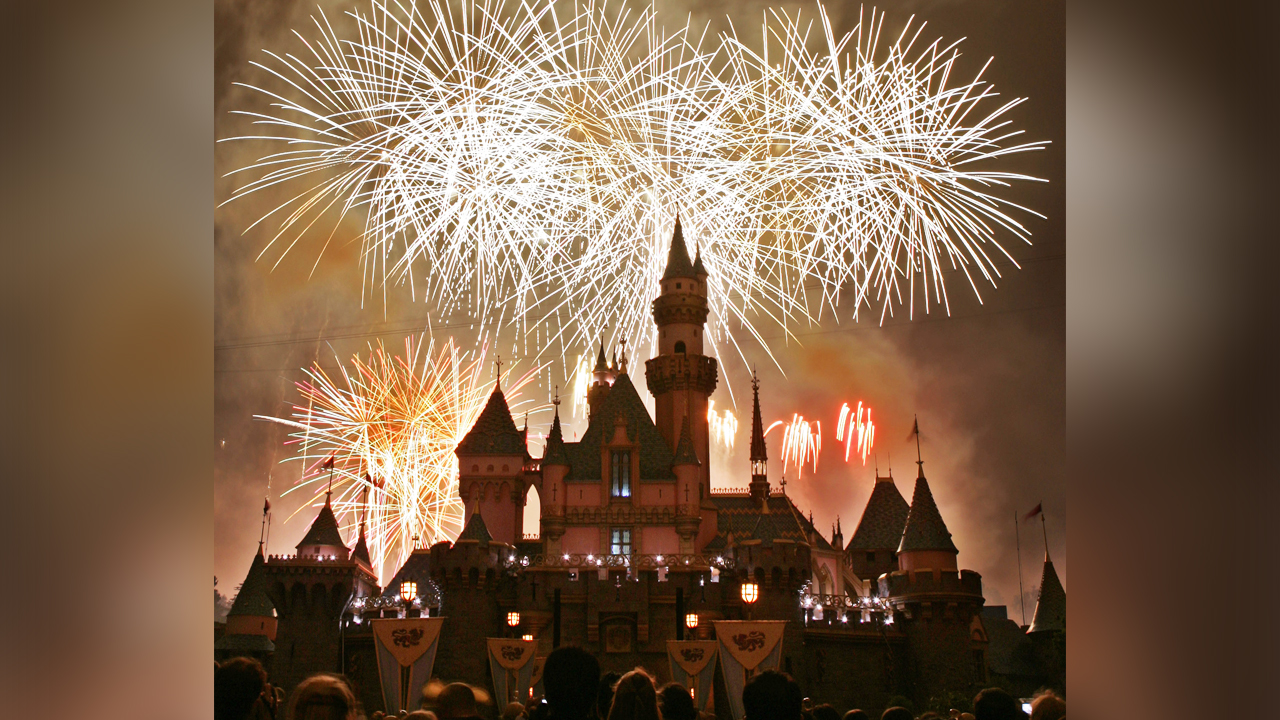 Fireworks expolde behind Sleeping Beautys Castle during the premiere of Remember...Dreams Come True as Disneyland celebrates its 50th anniversary May 4, 2005, in Anaheim.