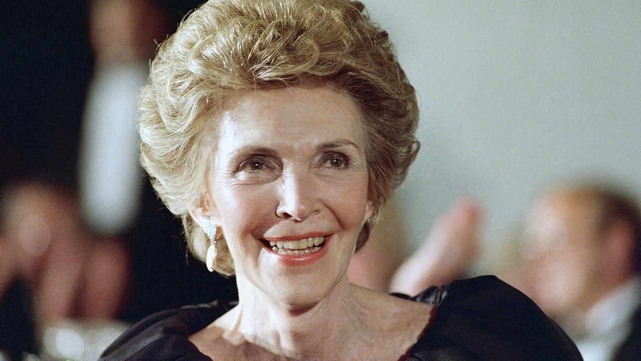 Former first lady Nancy Reagan smiles in 1988.