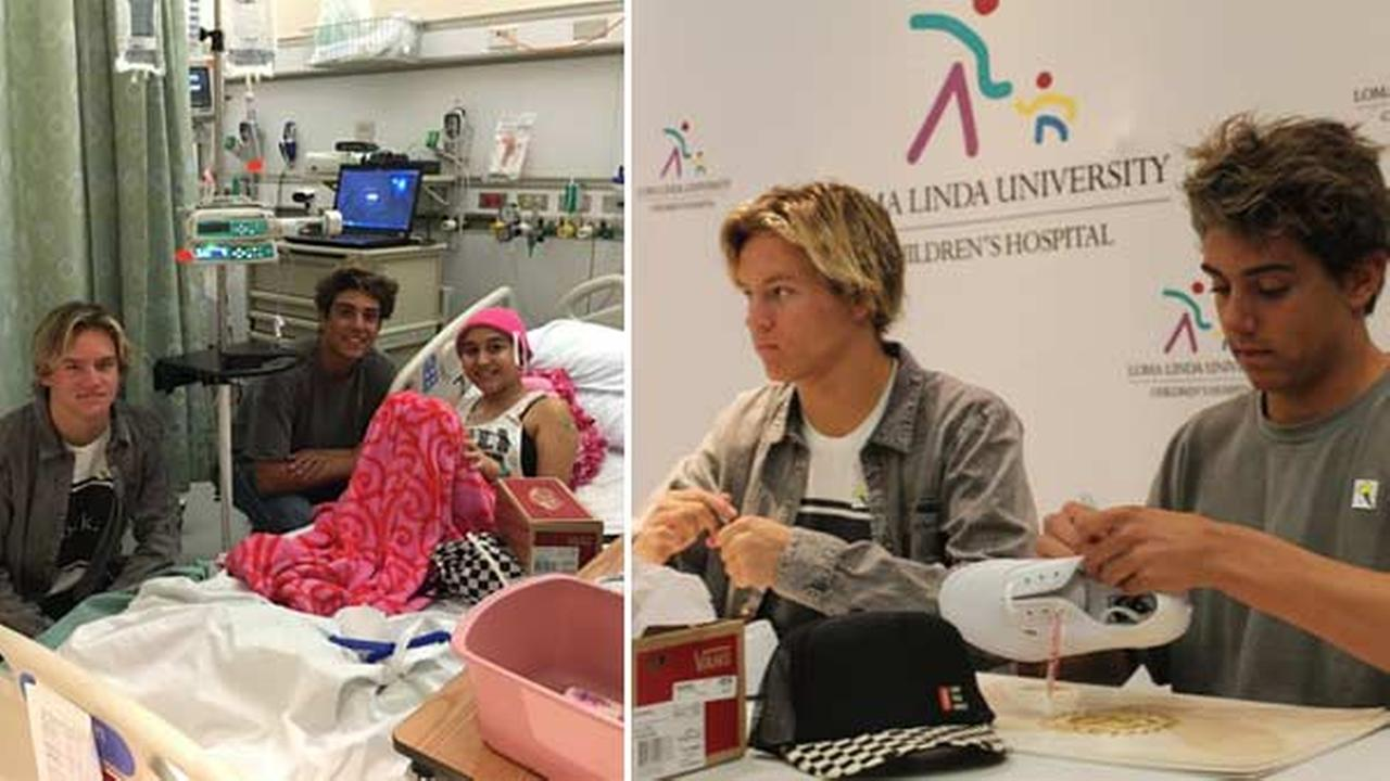 Daniel Lara and Josh Holz, the teens behind the hit video Damn Daniel, visit patients at Loma Linda University Childrens Hospital.
