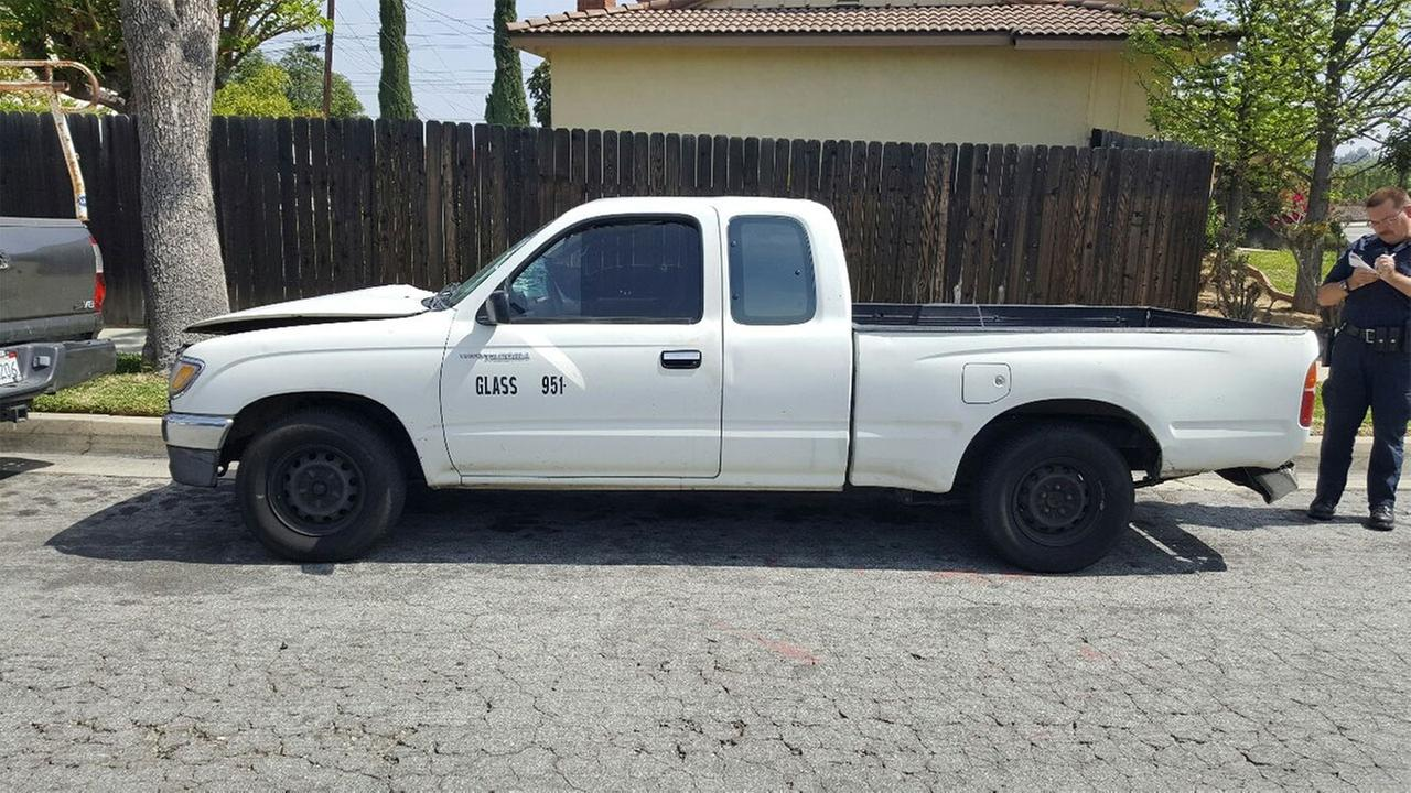 A Toyota truck believed to have been involved in a hit-and-run crash was found parked in the 2200 block of Ruiz Place in Hacienda Heights Sunday, March 20, 2016.