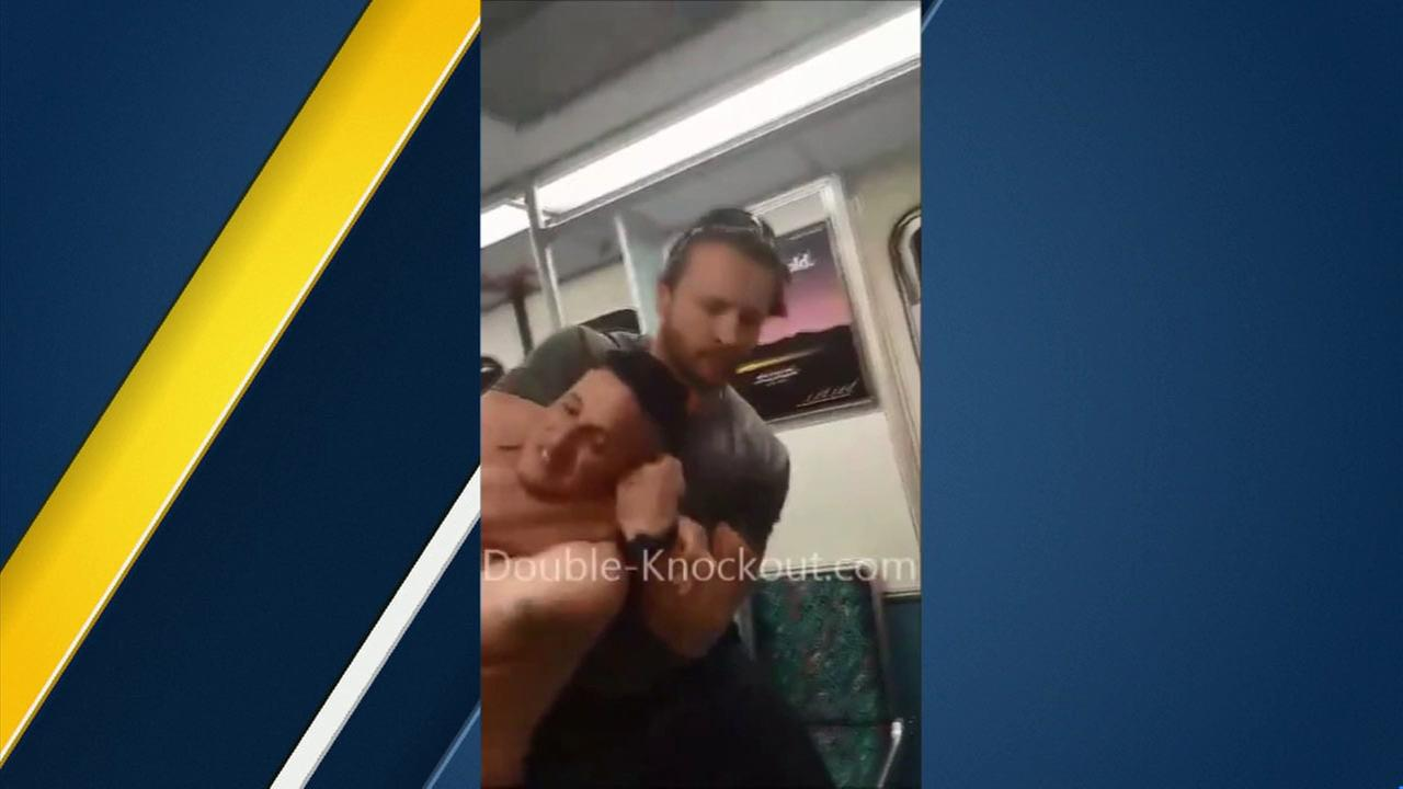 Adrian Kaczmarek is seen putting a shirtless man accused of harassing passengers on a Culver City train into a tight headlock on Saturday, March 22, 2016.