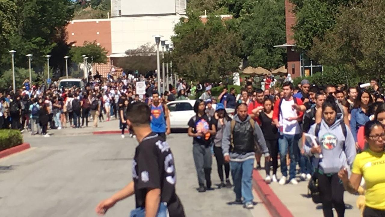 Students evacuate from Mt. San Antonio College in Walnut following an alleged bomb threat Thursday, March 24, 2016.