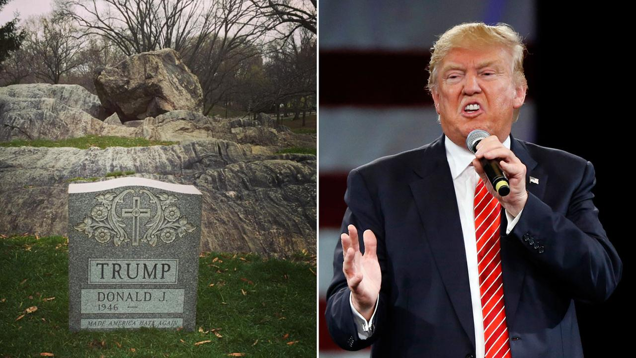 A photo of a tombstone at Central Park with Donald Trumps name on it  is shown alongside a file photo of the Republican presidential candidate.