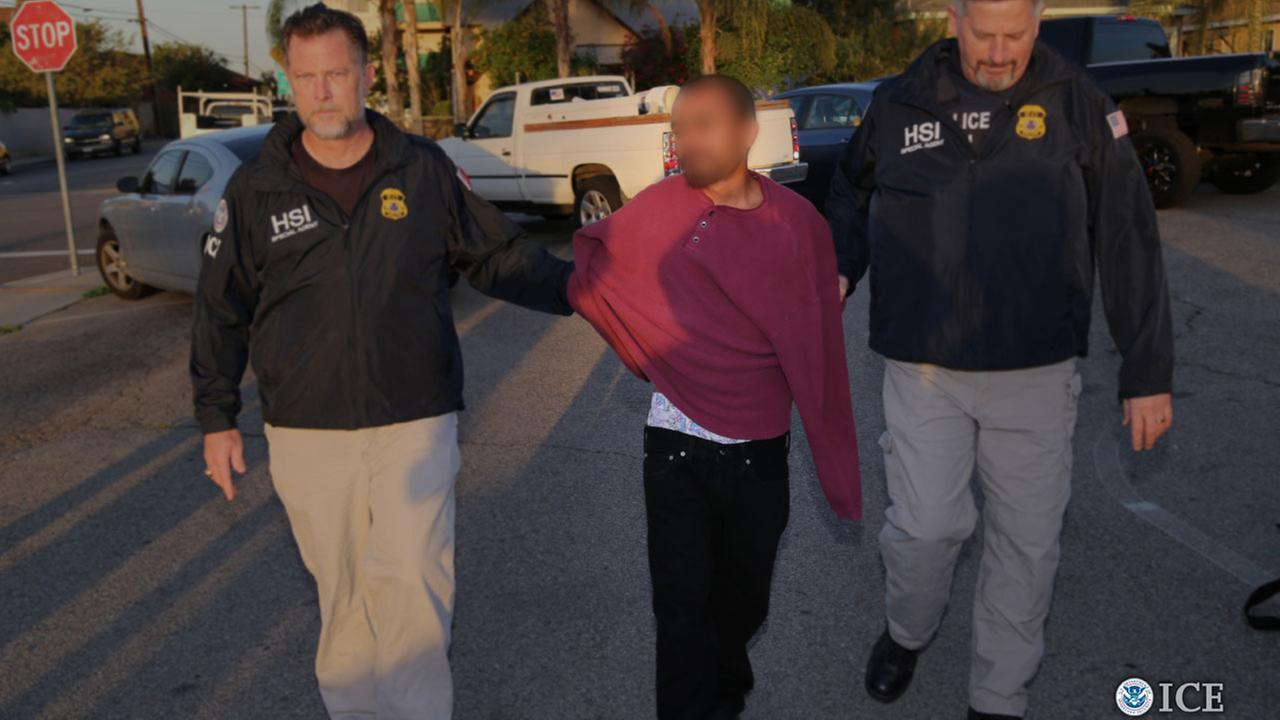 ICE agents arrest a suspected transnational gang member in Southern California during a five-week operation called Project Shadowfire.