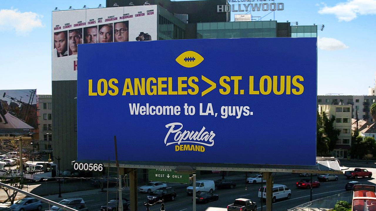 A billboard posted by clothing company Popular Demand at the intersection of Highland and Franklin avenues in Hollywood has outraged many St. Louis fans.