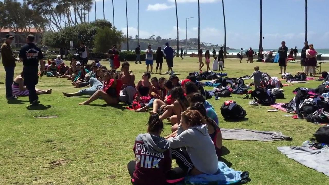 San Diego Fire-Rescue officials rescued 22 students from the waters off the coast of La Jolla Tuesday, March 29, 2016.