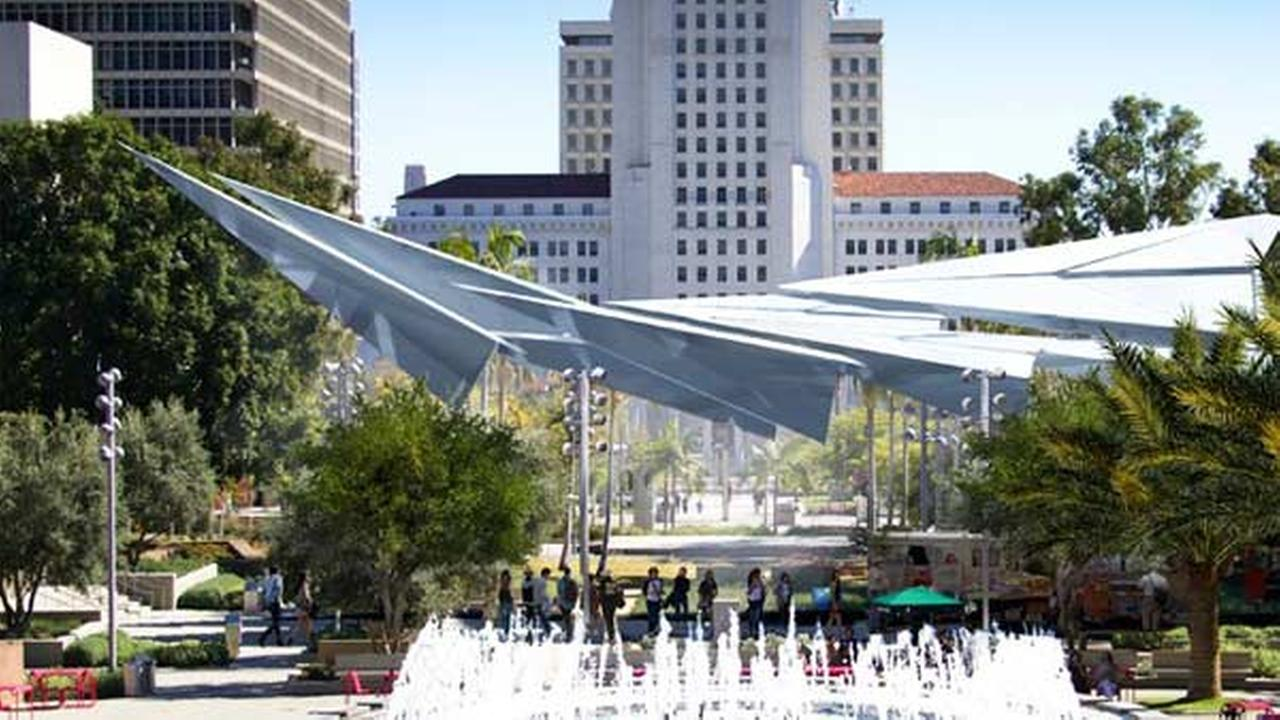 This paper-airplane design won a contest for a structure to provide shade for visitors to Grand Park in downtown Los Angeles.