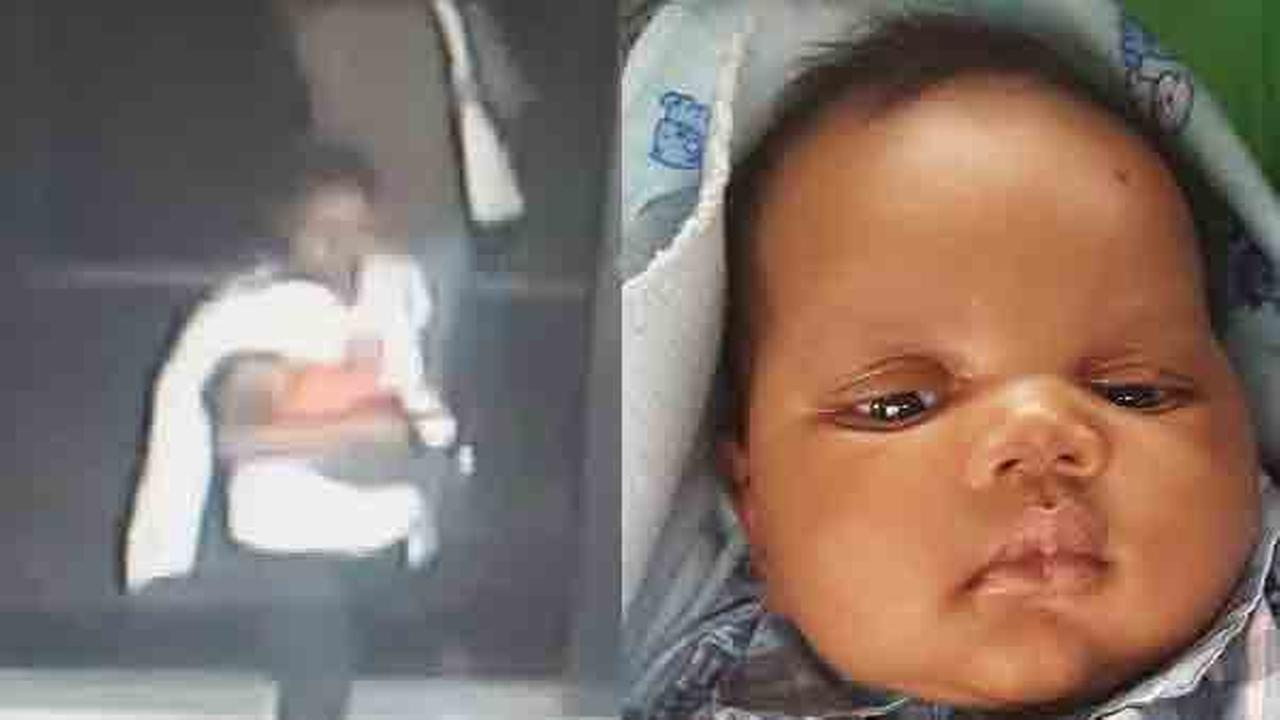 A 7-week-old baby boy, who was found safe after being abducted from King of Prussia Mall in Pennsylvania, is seen in these images.