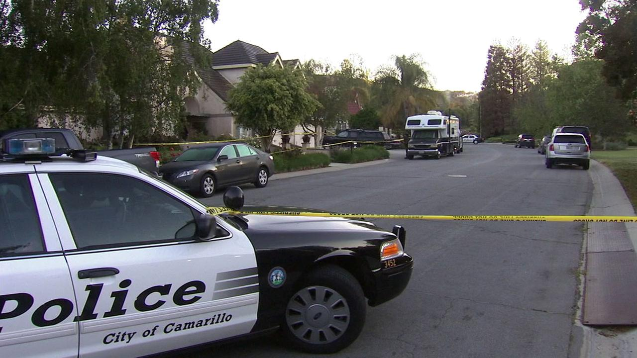 Authorities blocked off an area near a home in the 2000 block of Paseo Noche in Camarillo to investigate two suspicious deaths on Sunday, April 3, 2016.