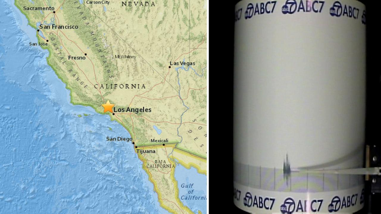 The ABC7 quake cam (right) shows a preliminary 3.4-magnitude earthquake striking near Granada Hills Monday, April 4, 2016.