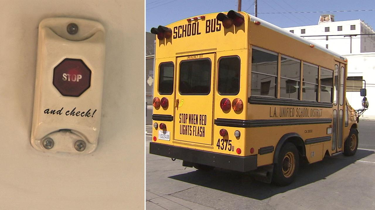 A bus safety alarm is shown alongside a Los Angeles Unified School District special-needs bus that contains the alarm in undated photos.