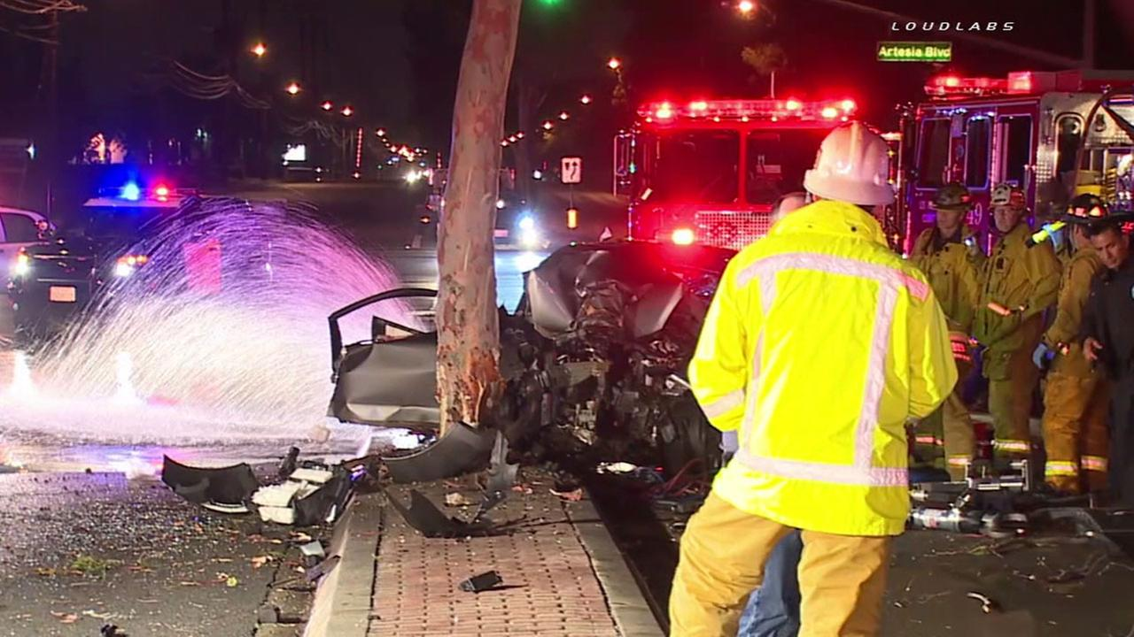Emergency personnel respond to a fatal single-vehicle crash near Artesia Boulevard and Valley View Street in La Mirada Thursday, April 7, 2016.