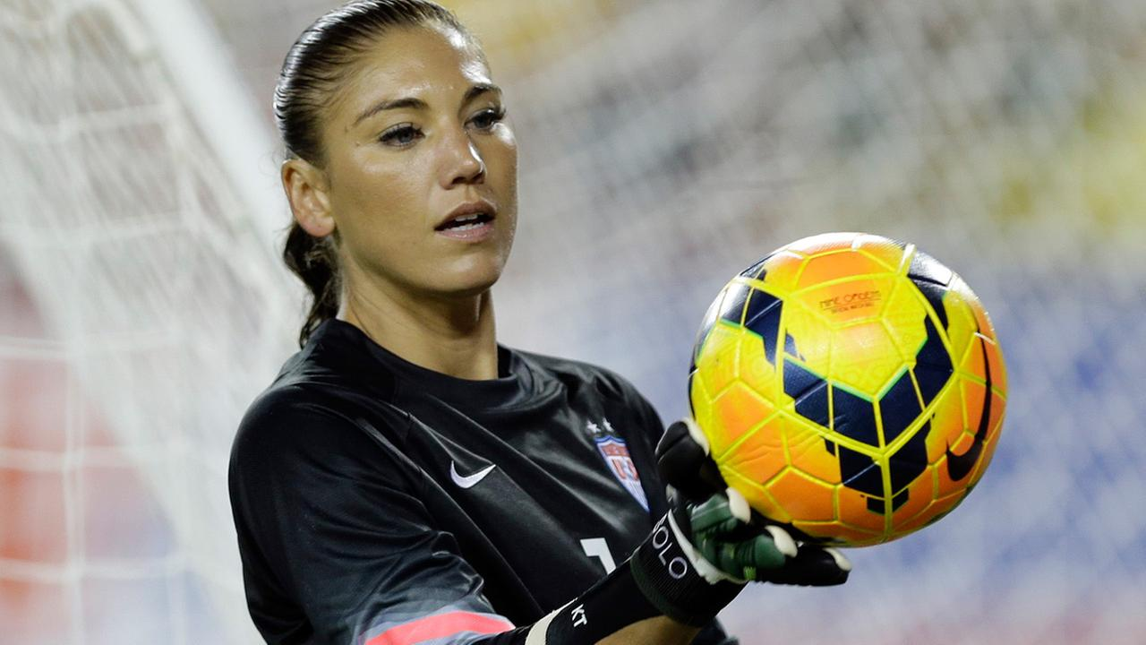 United States goalkeeper Hope Solo (1) catches the ball during the second half of a womens friendly soccer match against France Saturday, June 14, 2014, in Tampa, Fla.