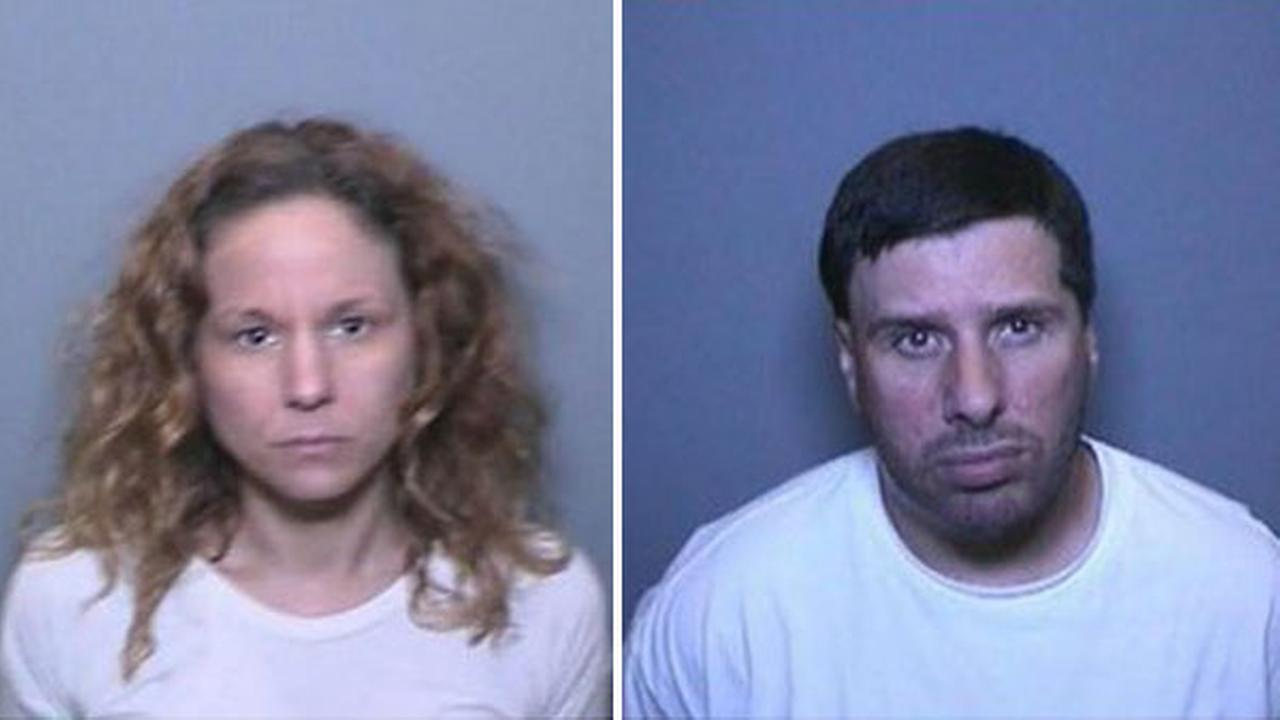 Jennifer Beale (left) and Kevin Brown (right), both of Laguna Hills, were arrested after officials said they tried to frame a woman by planting drugs and weapons in her truck.
