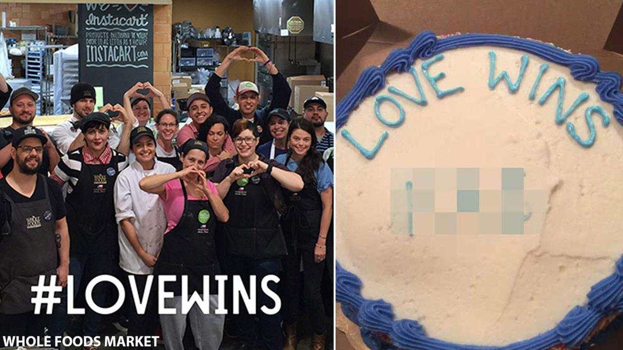 Bakery employees from a Whole Foods Market are shown alongside images of a cake that had a gay slur allegedly written on it at the market.
