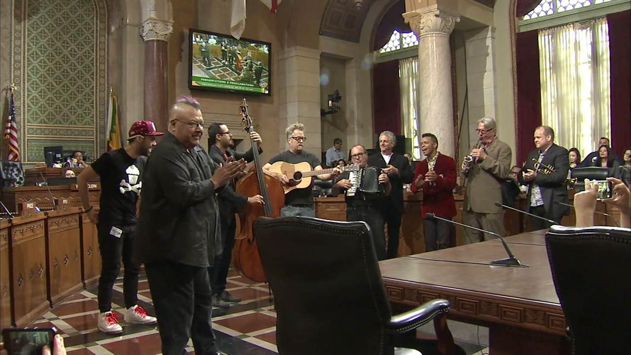 Members of the 80s band Oingo Boingo performed after they were honored by the Los Angeles City Council on Wednesday, April 20, 2016.