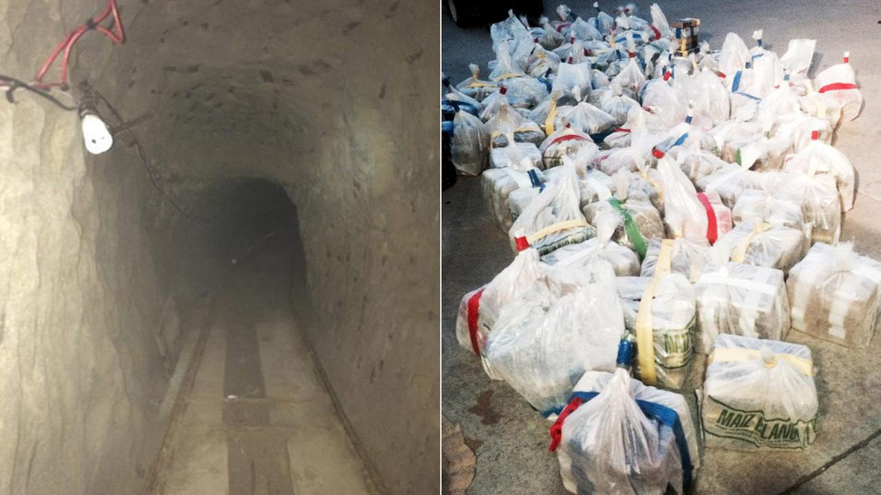 These photos from the Department of Justice show confiscated items and a drug tunnel discovered that connects Mexico and San Diego.