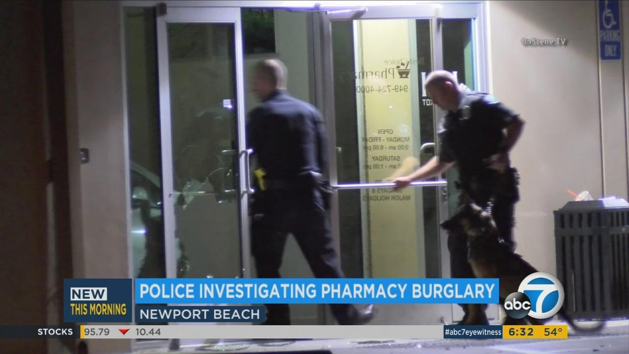 Newport Beach police investigate a burglary at Best Choice Pharmacy in the 4200 block of Birch Street Tuesday, April 26, 2016.