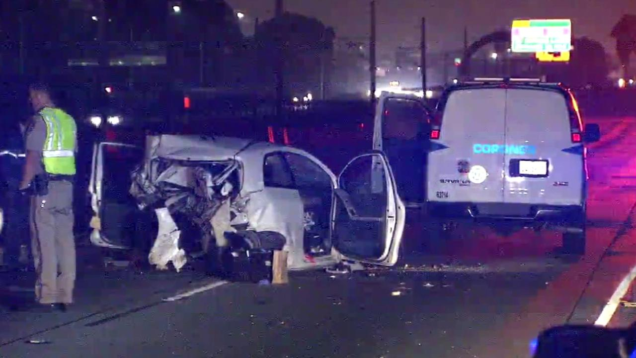 California Highway Patrol officials investigate a fatal two-car collision on the westbound 105 Freeway near Central Avenue Thursday, April 28, 2016.