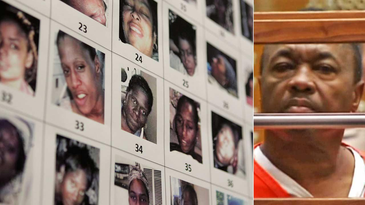 Lonnie Franklin, known as the Grim Sleeper serial killer, is seen in court. Photos of victims of the convicted killer are seen on the left.