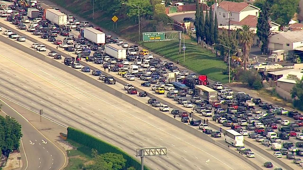 The 5 Freeway was temporarily closed in both directions at Grand Avenue in Santa Ana Friday, May 6, 2016.