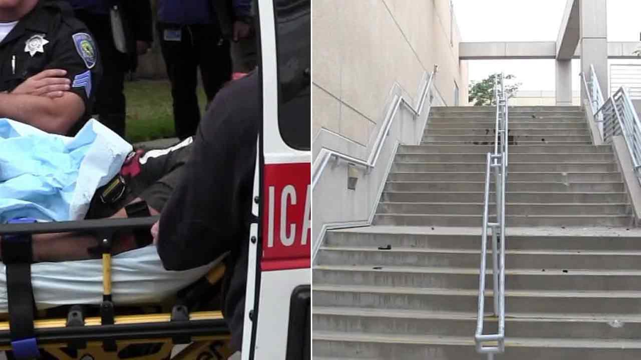 A bloodied chase suspect was taken into custody after driving into a San Bernardino college and down several flights of stairs in a stolen car on Friday, police said.