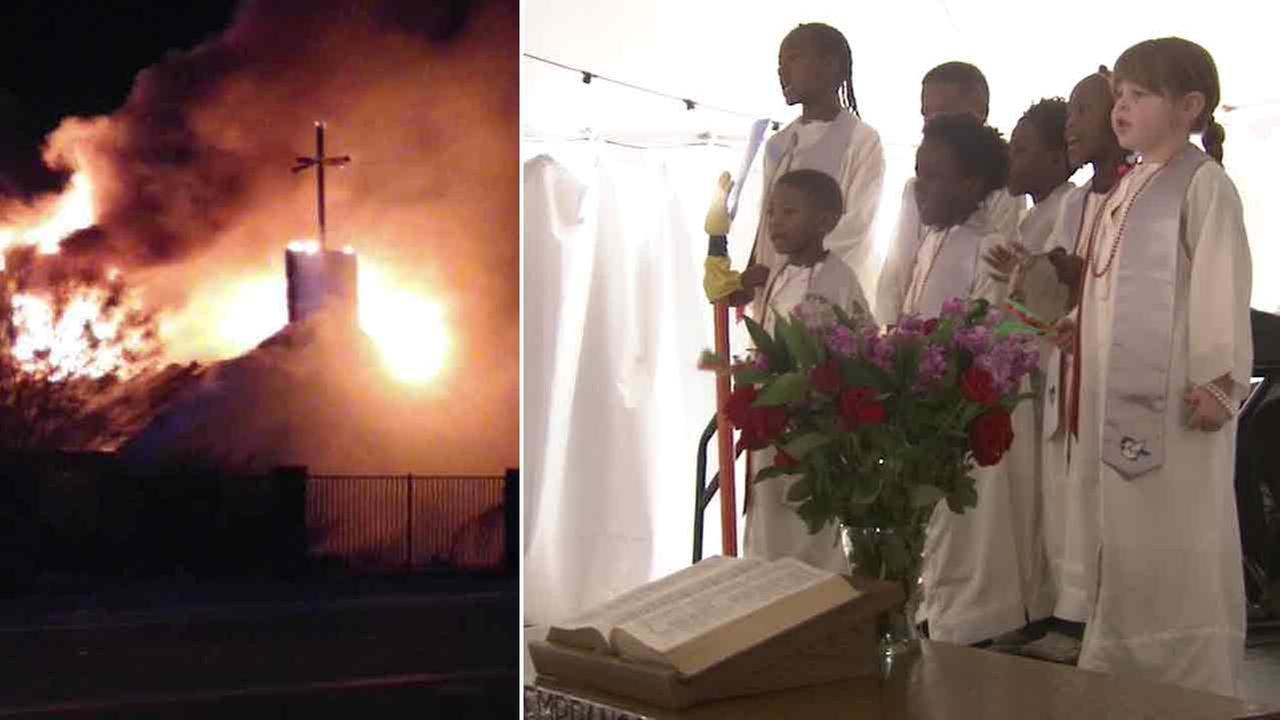 Sunday service restored at the Community First Church of God in Homeland just one week after a fire destroyed the churchs sanctuary.