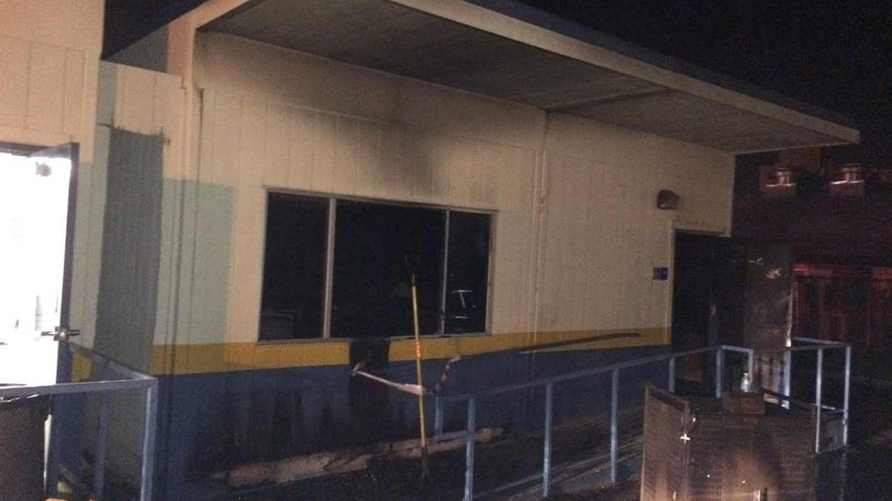 A portable classroom incurred fire damage at Bloomington High School on Friday, May 13, 2016.