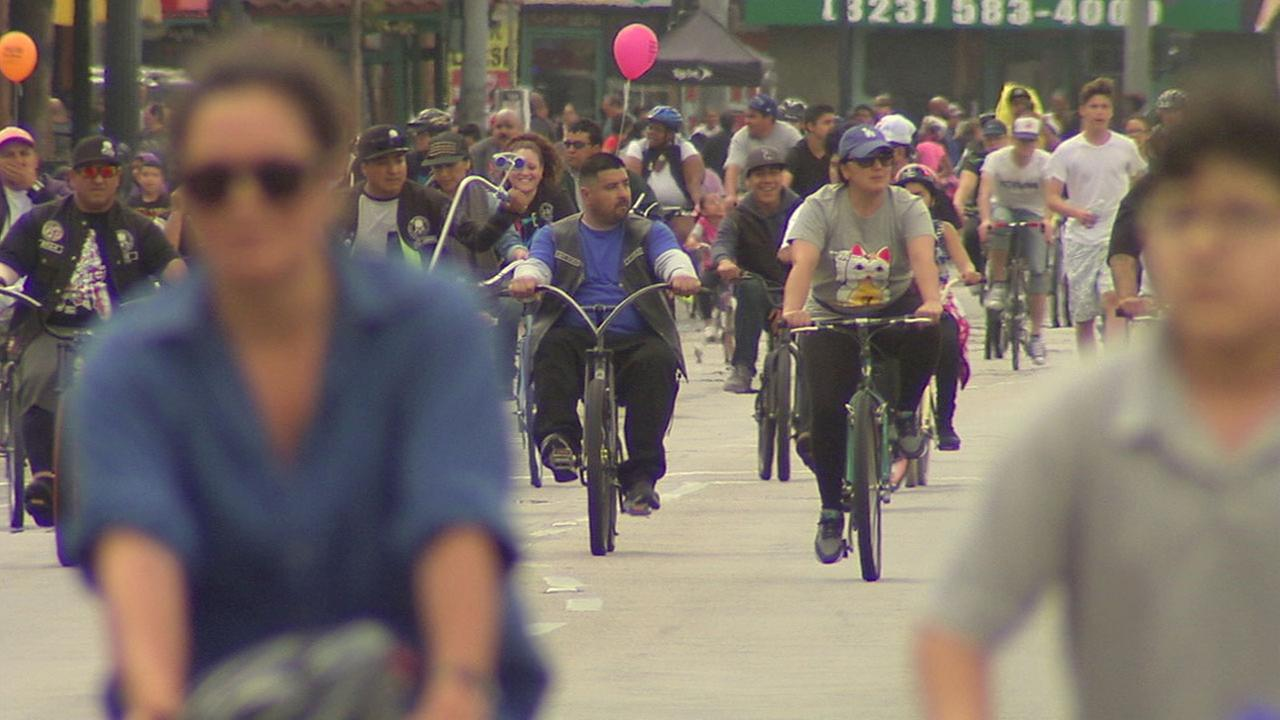 Bicyclists participating at a CicLAvia in Los Angeles are shown on Sunday, May 15, 2016.