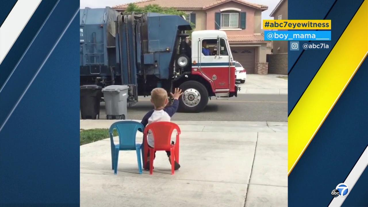 Rylan Checchia, a young boy from Lake Elsinore, has a special bond with his neighborhood trash man.
