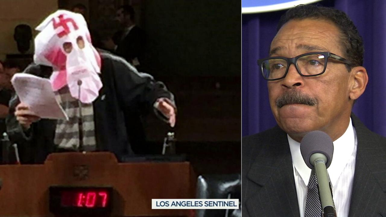Wayne Spindler (left), a City Hall critic, was arrested on suspicion of making criminal threats against Los Angeles City Council President Herb Wesson (right).