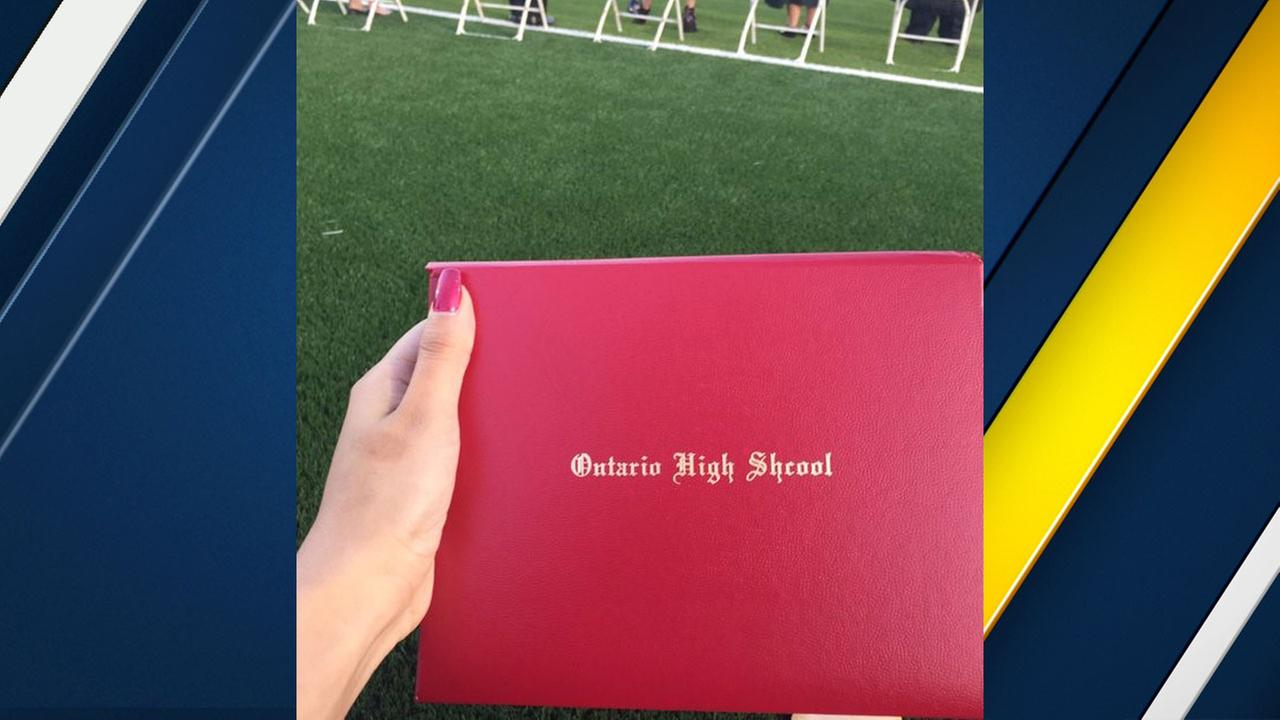 An Ontario High School graduate shared a photo on Twitter of the misspelling on her diploma cover on Thursday, May 19, 2016.