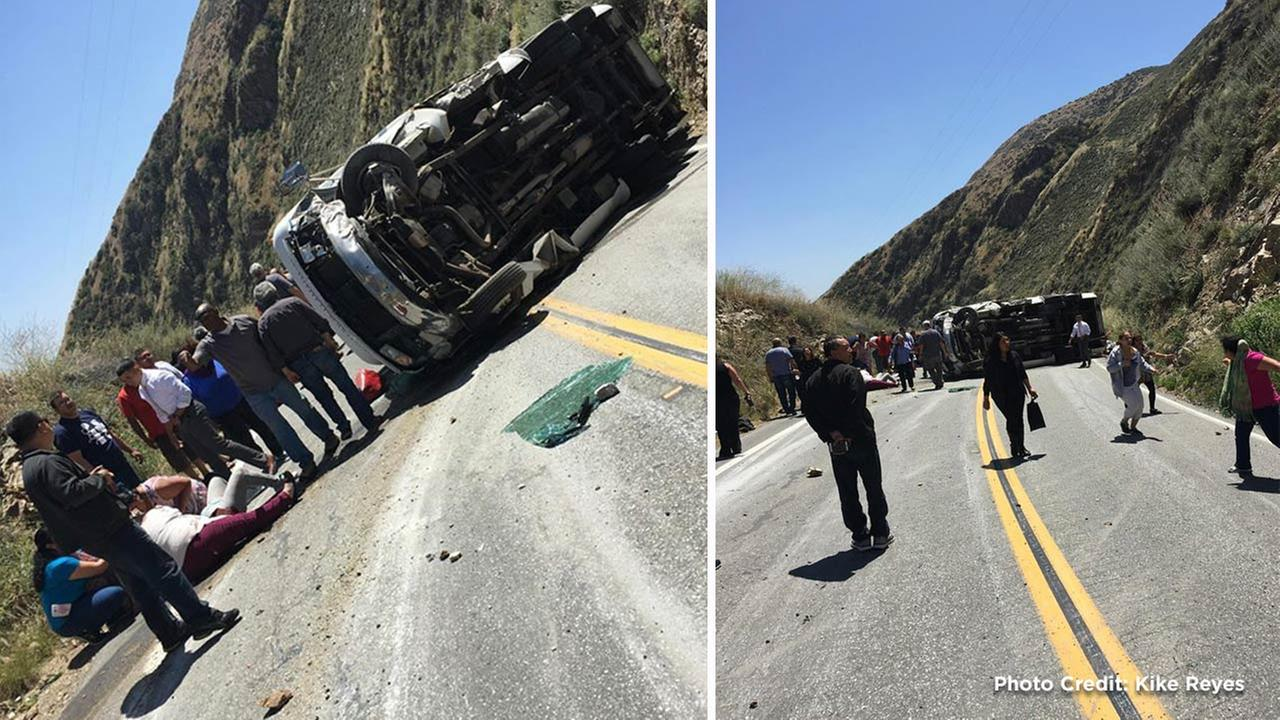 A rollover crash involving a bus injured 21 people in Highland on Sunday, May 22, 2016, according to the California Highway Patrol.