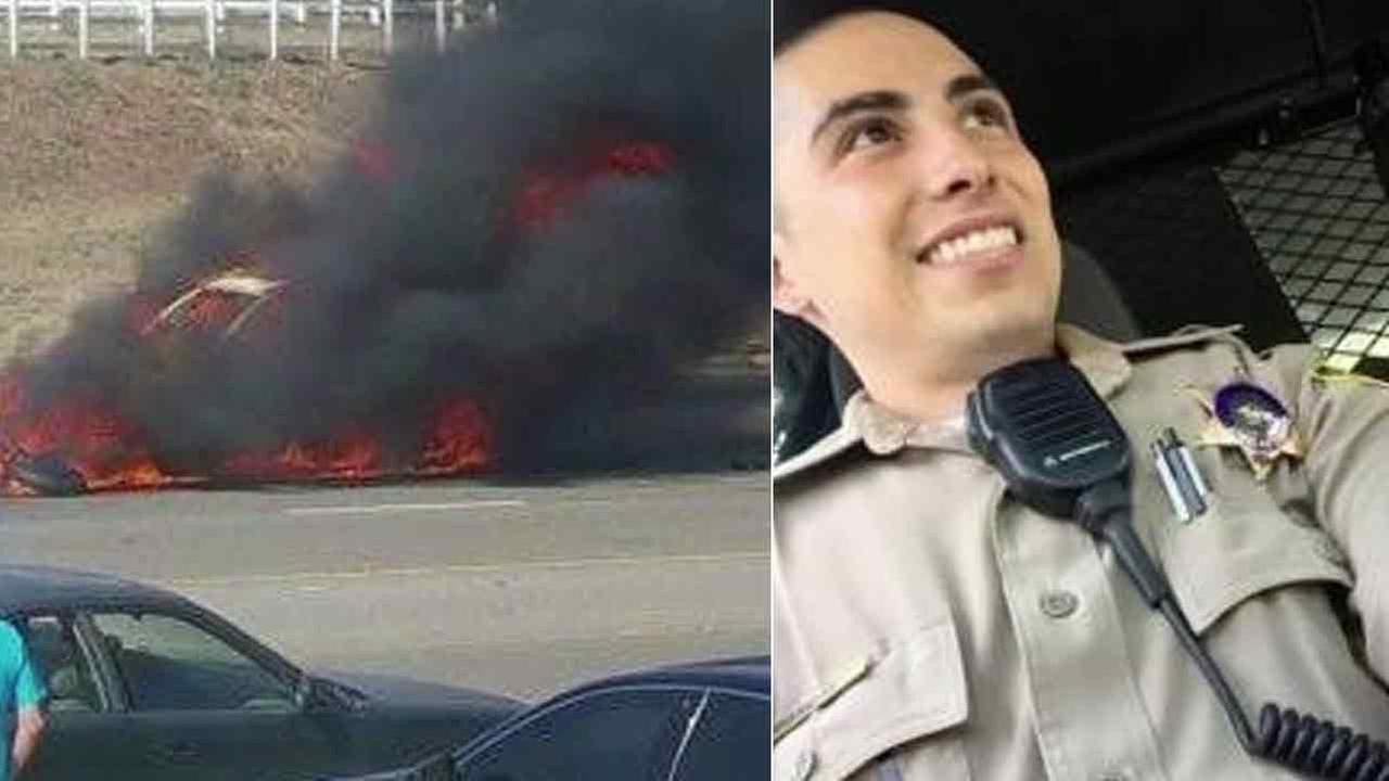 LASD deputy Phillip Borja, 25, (R), was killed in a fiery crash (L) on Friday, May 27, 2016.