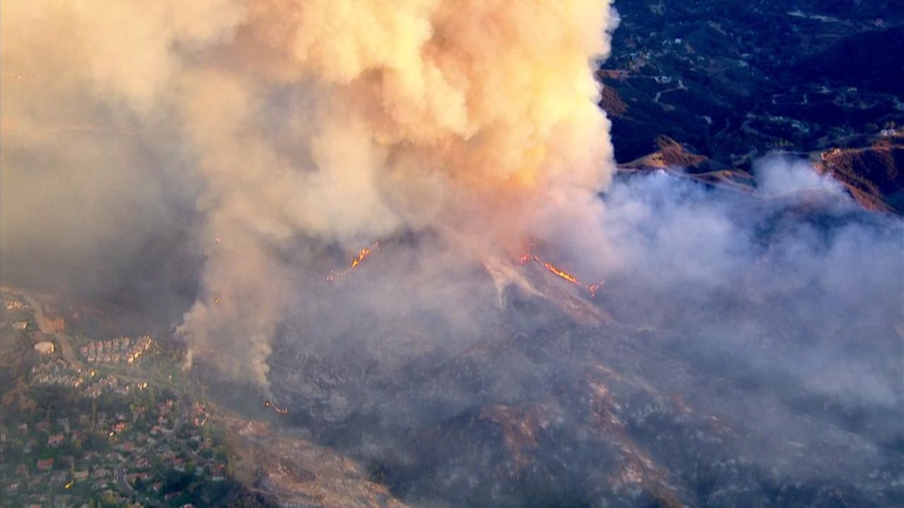 A 400-acre fire threatened homes and buildings in Calabasas on Saturday, June 4, 2016.