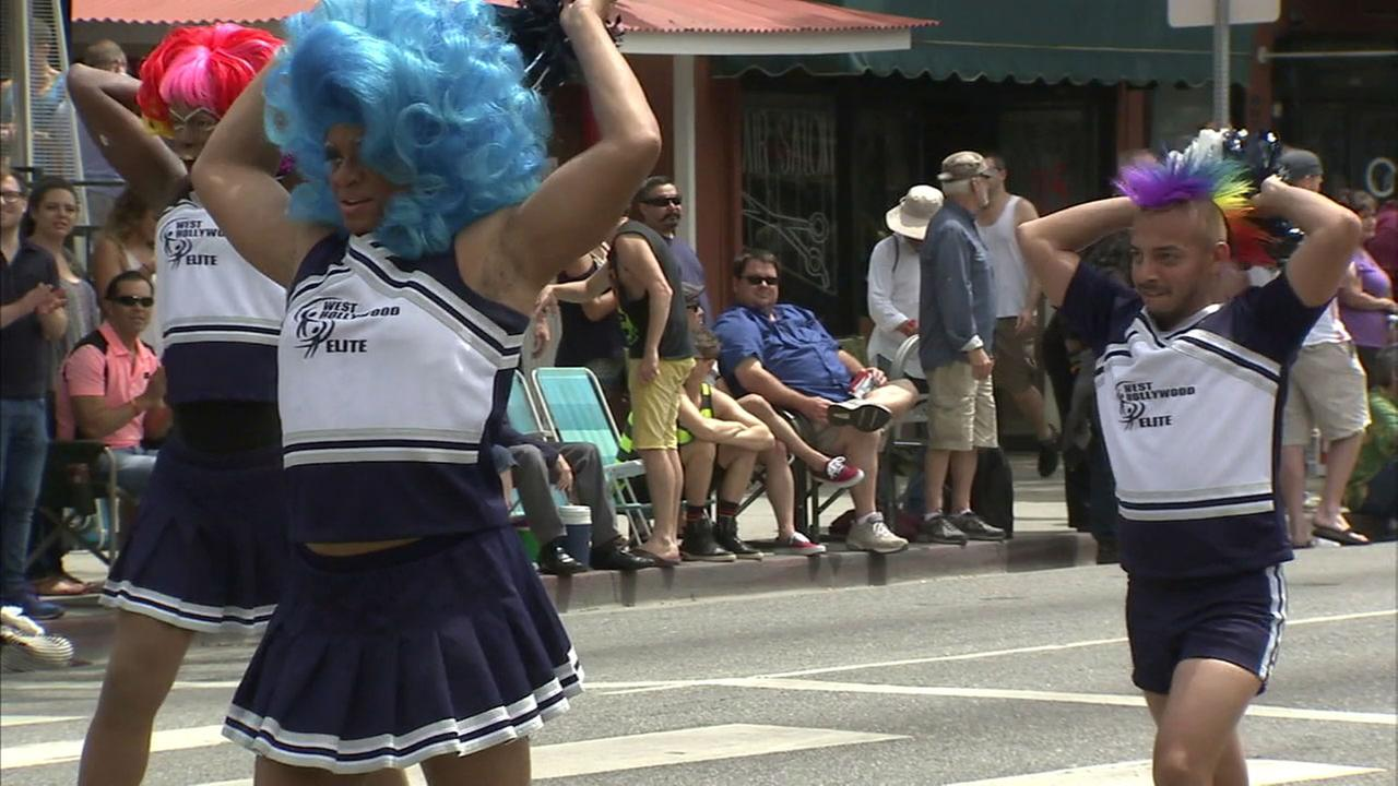 Participants march in a previous years LA Pride Music Festival and Parade in West Hollywood.