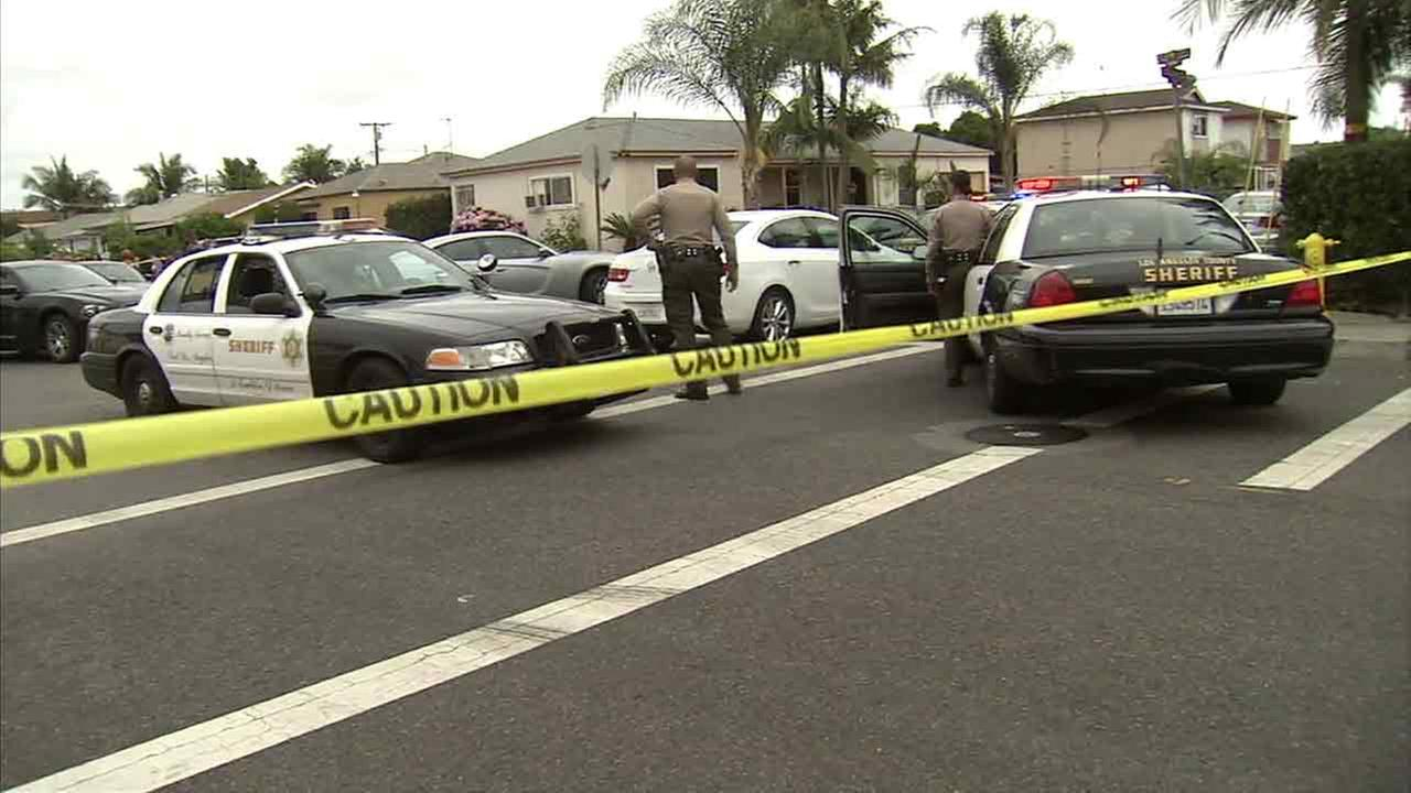 Los Angeles County sheriffs deputies at the scene of a deputy-involved shooting in Maywood on Saturday, June 11, 2016.