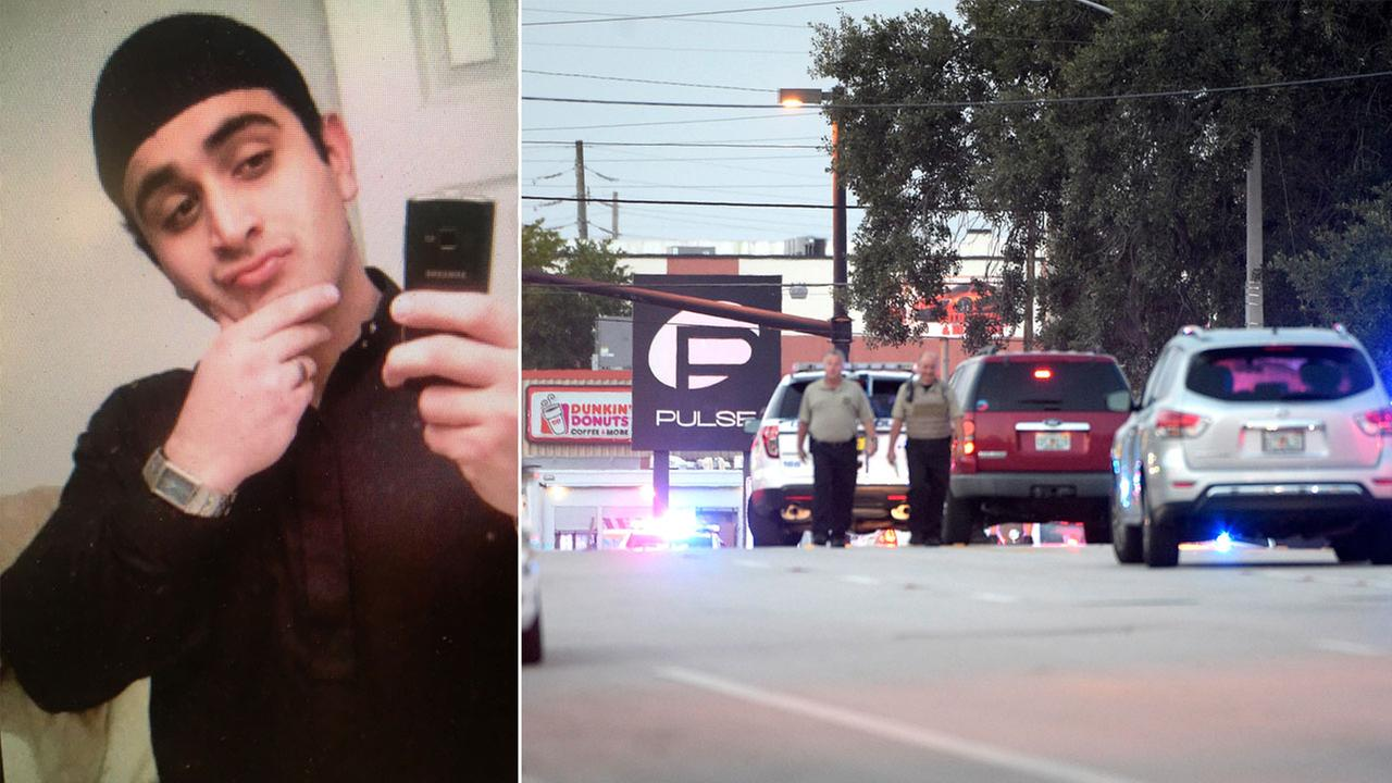 Orlando nightclub shooting suspect Omar Mateen is shown in an undated photo alongside an image of the scene at the front of Pulse Nightclub on Sunday, June 12, 2016.