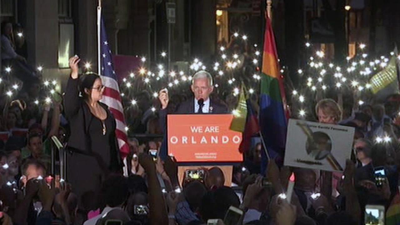 Thousands attended a vigil for the victims of the Orlando shooting outside the Stonewall Inn in New York City on Monday, June 13, 2016.