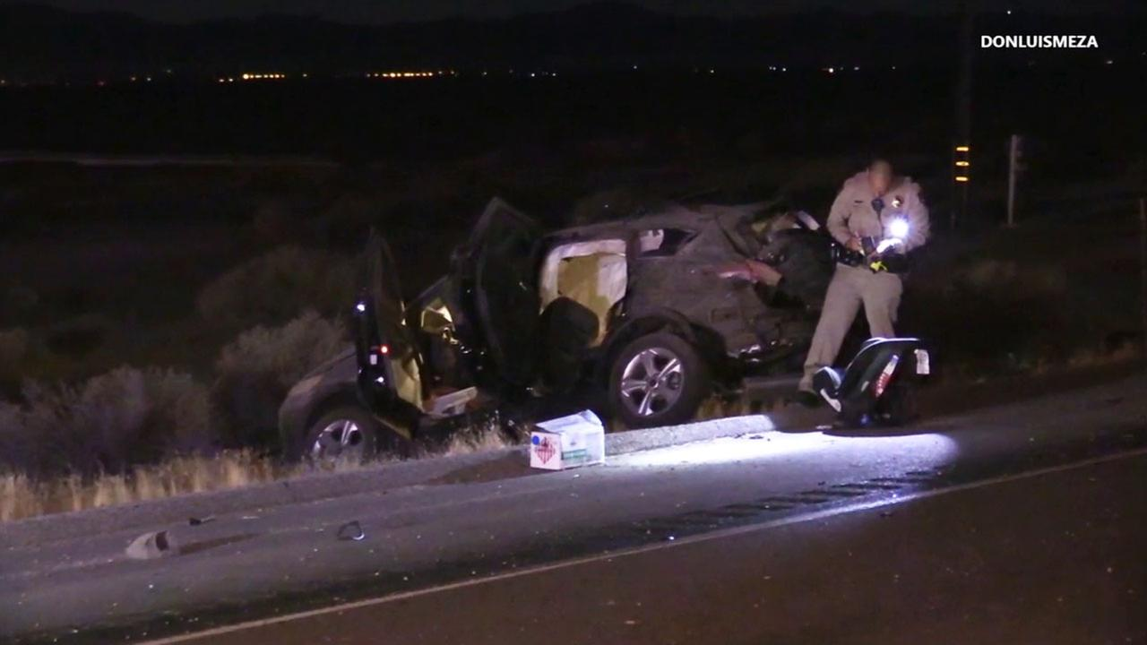 California Highway Patrol officers investigate a triple-fatal wreck that happened in Lancaster near the 14 Freeway on Sunday,  June 19, 2016.