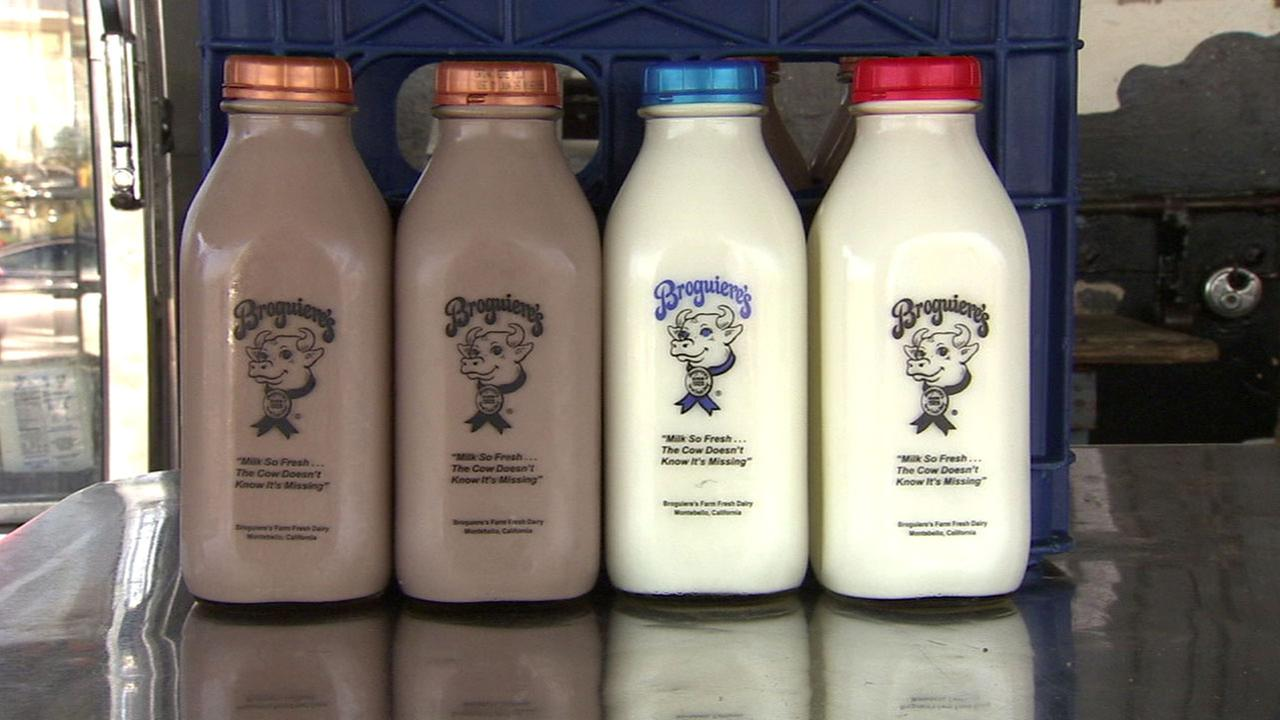 The well-known glass bottles used by Broguieres Dairy are shown in an undated file photo.