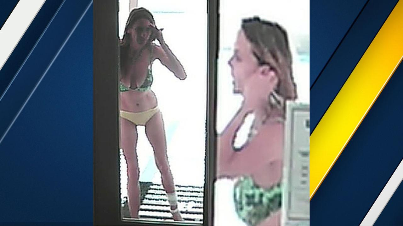 Authorities released surveillance footage of a woman in a bikini who is suspected of stealing from two properties in Lancaster and Lake Hughes on June 4, 2016.